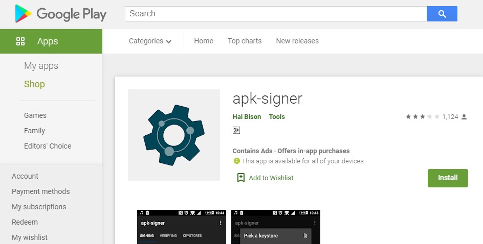 BY USING APK SIGNER